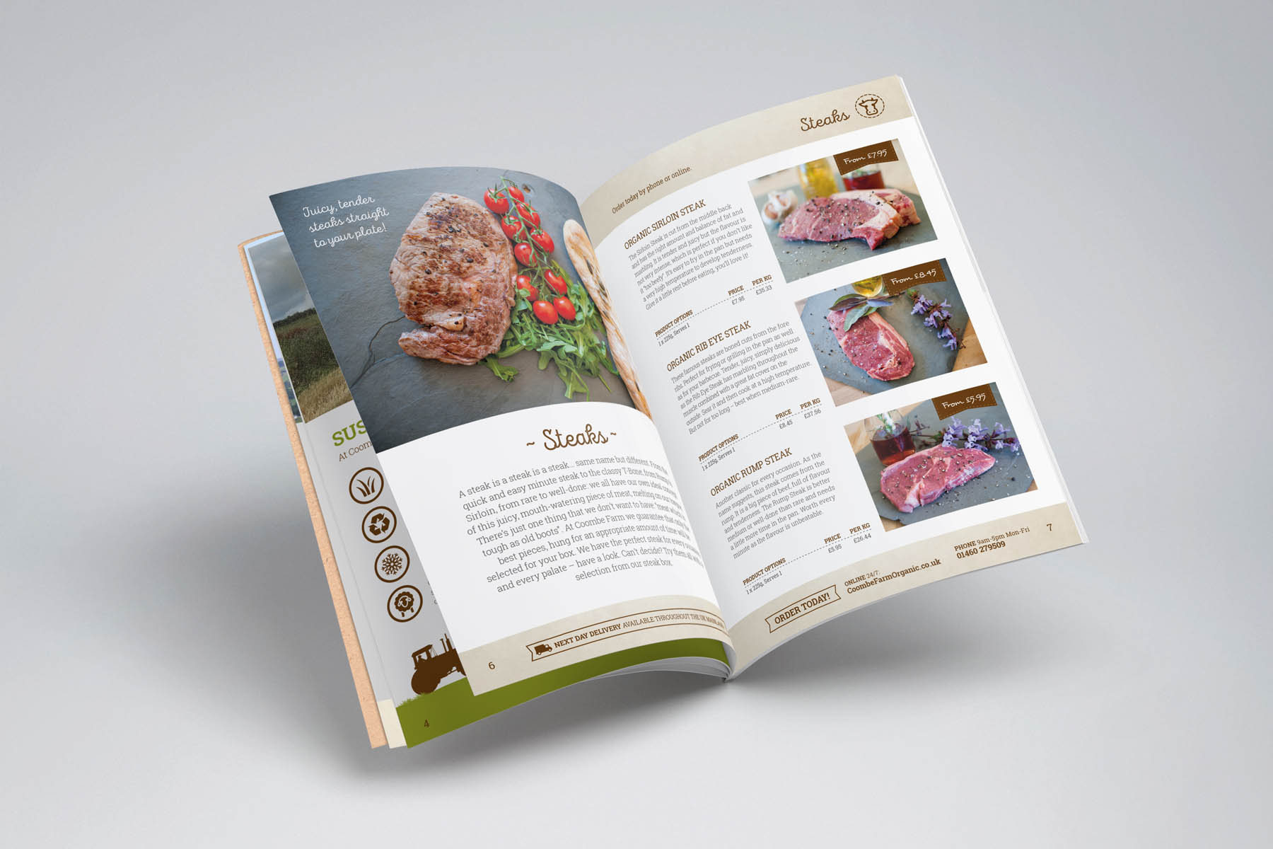 Coombe farm catalogue open page
